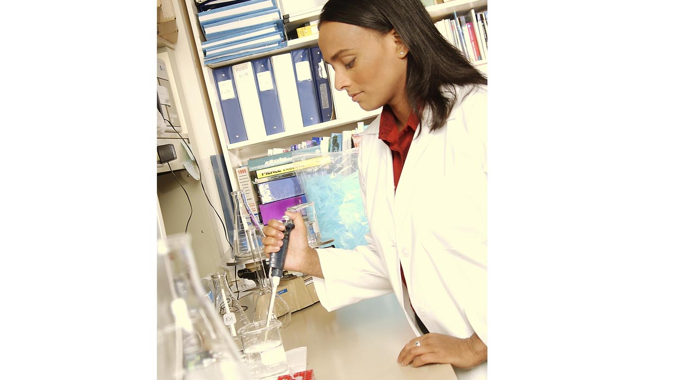 Female American Forensics Lab Tech Image